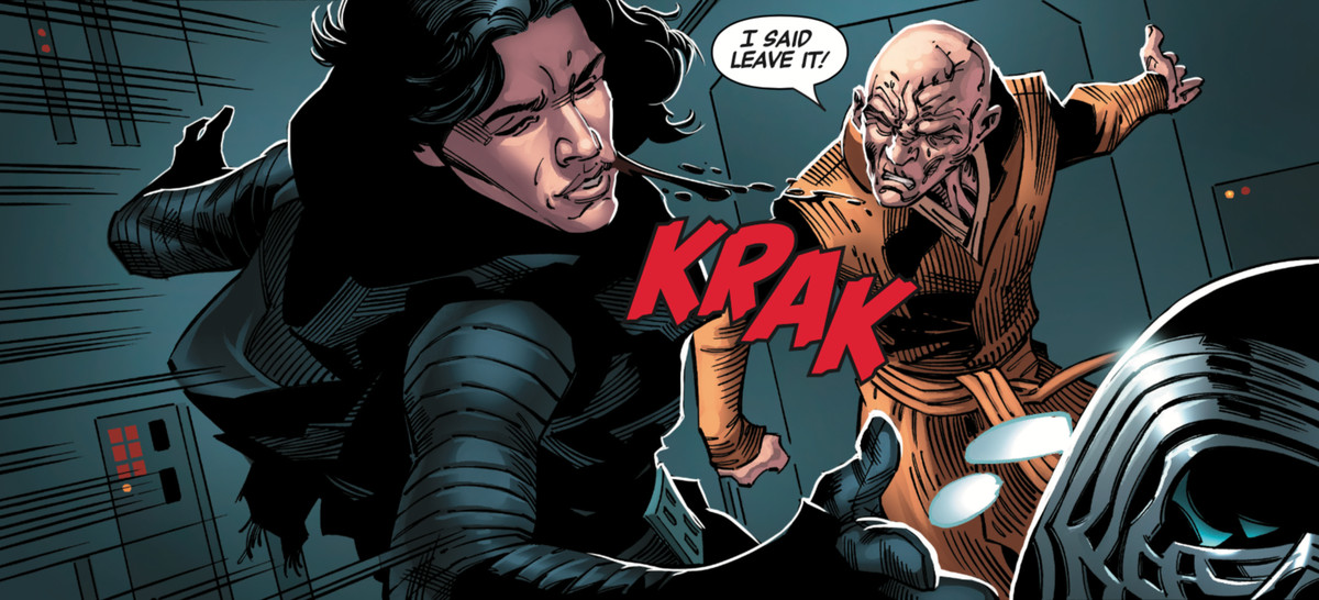 Snoke smacks Kylo Ren across the face, sending his vader-esque helmet across the room