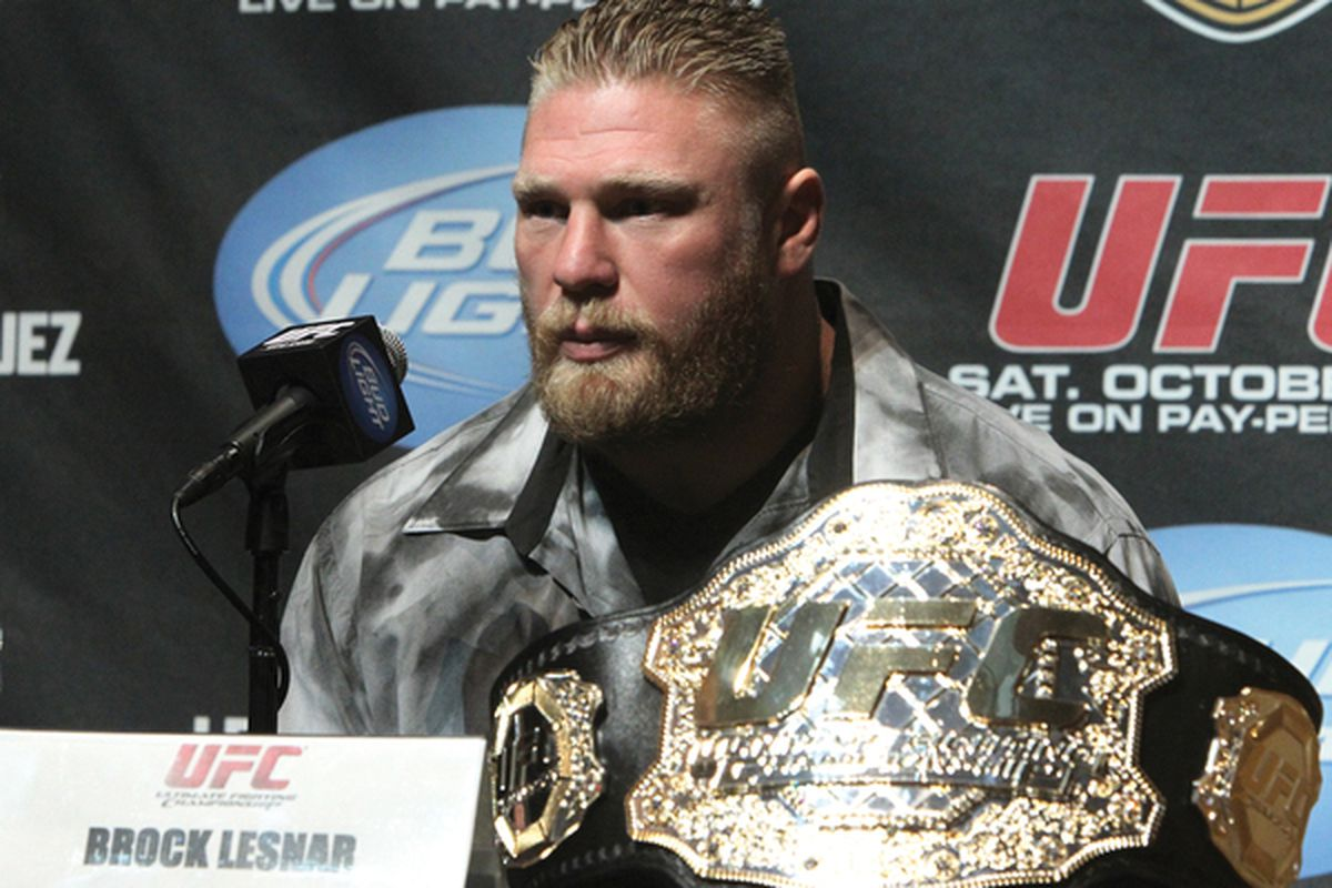 LOS ANGELES CA:  UFC Heavyweight Champion Brock Lesnar at the UFC 121 pre-fight press conference at the Walt Disney Concert Hall in Los Angeles California.  (Photo by Josh Hedges/Zuffa LLC/Zuffa LLC via Getty Images)