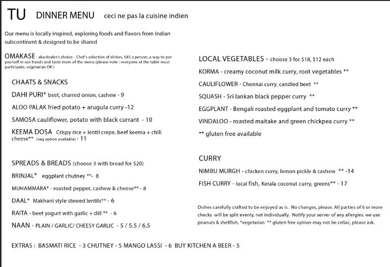 The vegetarian menu for Tu