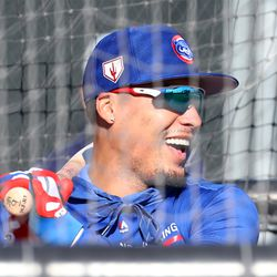 Javy Baez laughs while in the batting cages on Field 2 at the Under Armour Performance Center, the Spring Training home of the Chicago Cubs in Mesa, AZ. | John Antonoff/For the Sun-Times