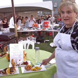 Laraine Hunt of Layton with her winning dishes from the Iron Pig Championship Cook-Off. September 2012 (Valerie Phillips)