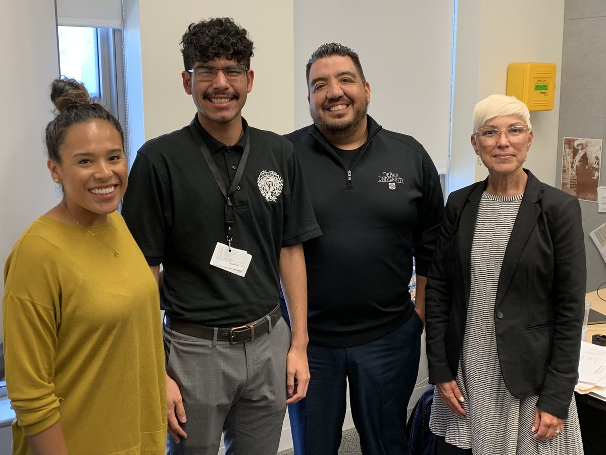 From left: Back of the Yards College Prep teacher Benita Arguellez, student Arturo Ballesteros, guidance counselor Juan Carlos Salinas and Principal Patricia Brekke.   Mitchell Armentrout/Sun-Times