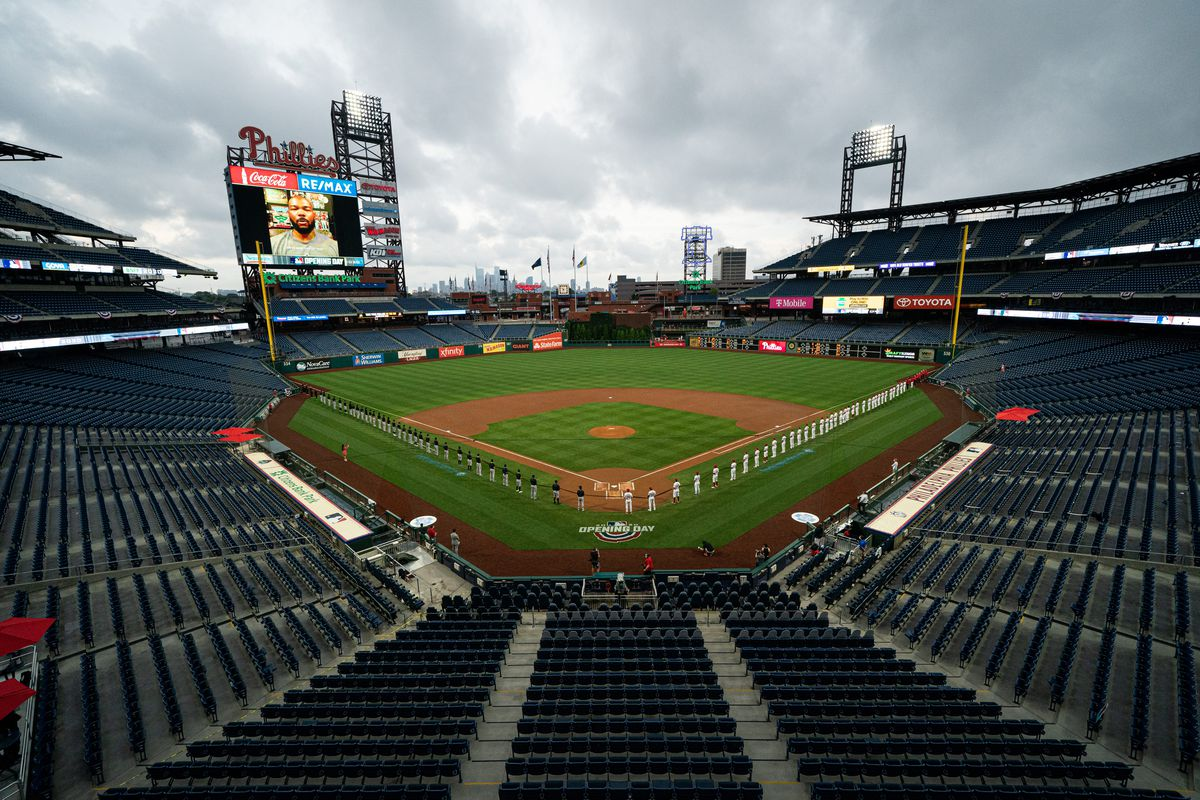 General view as the Philadelphia Phillies and Miami Marlins hold a large black ribbon in support of the Black Lives Matter movement before opening day at Citizens Bank Park.