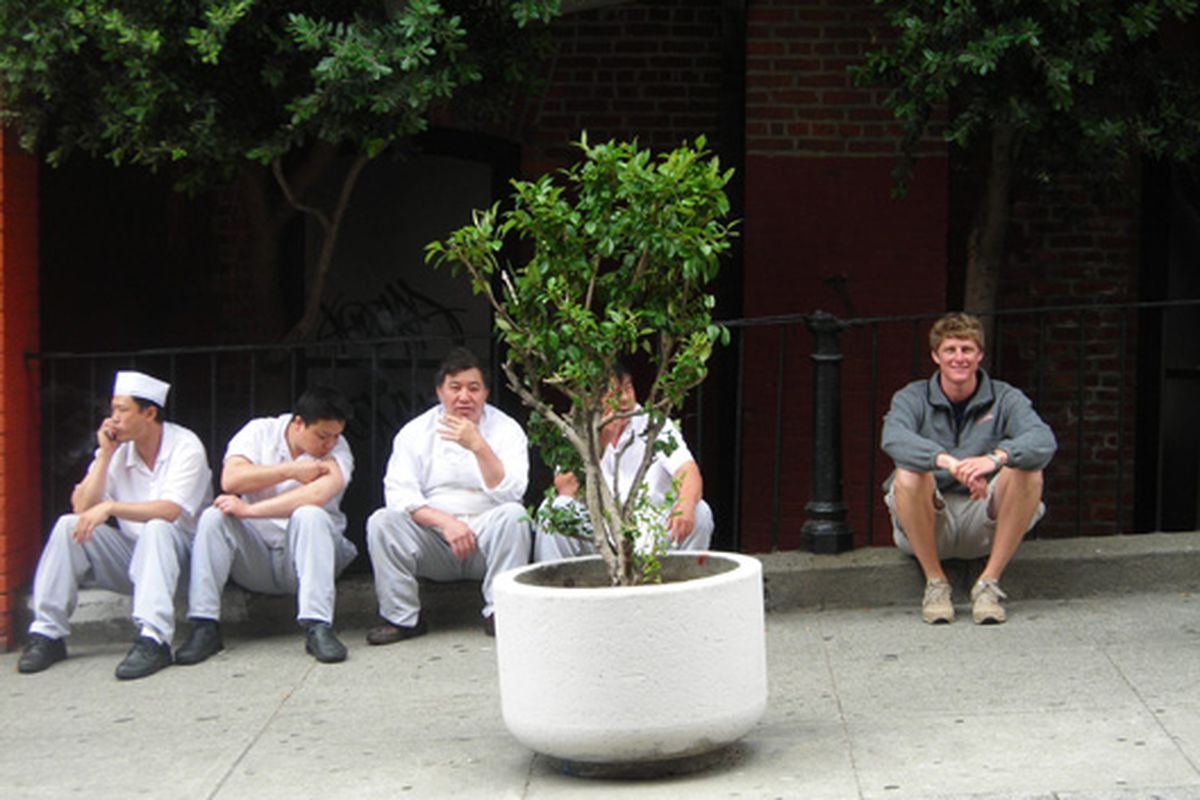 """From the tipline: """"So two years ago I was in Chinatown with my nephew and took a photo of him next to a group of chefs on a break...today on sfeater, <a href=""""http://sf.eater.com/archives/2009/08/20/listage_476.php"""">there's a photo</a>...and it seem"""