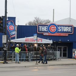 11:52 a.m. ESPN Baseball Tonight set up in front of the Cubs Store -