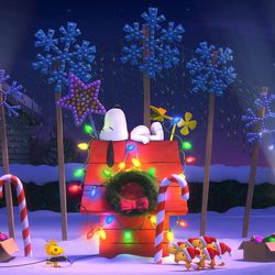 """Snoopy and Woodstock relax during the holidays in """"The Peanuts Movie."""""""