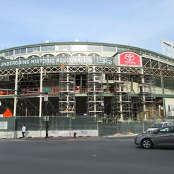 Sun 12/20: Dismantling the main gate scaffolding, another view -