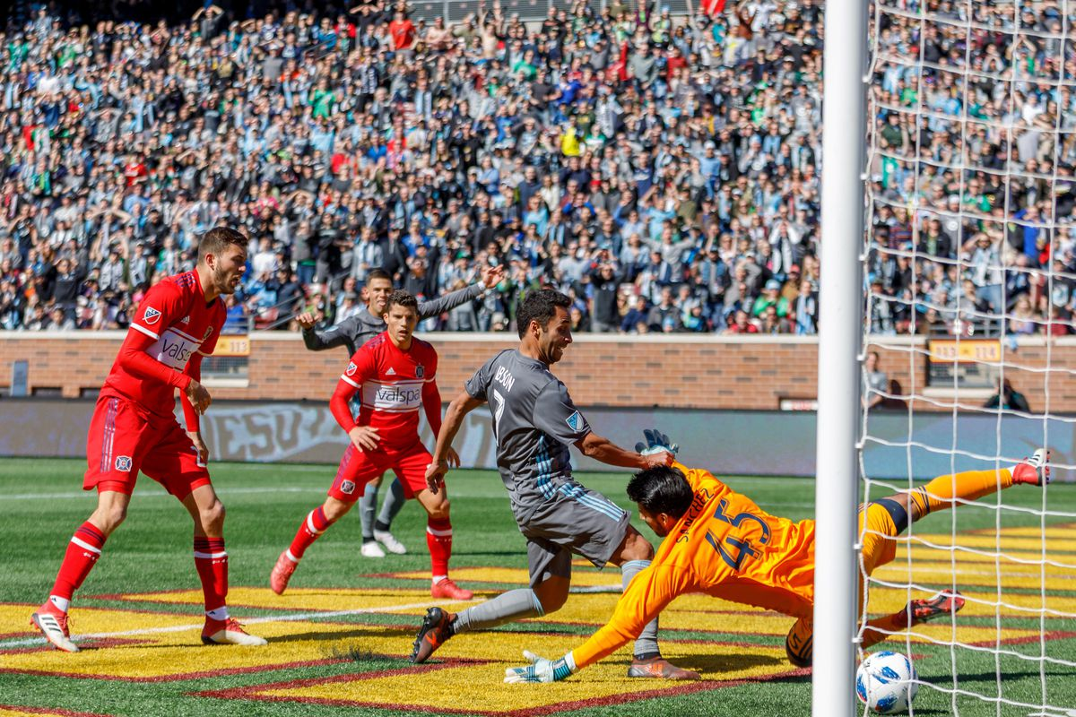 March 17, 2018 - Minneapolis, Minnesota, United States - Ibson scores the opening goal in the 55' of the Minnesota United vs Chicago Fire match at TCF Bank Stadium.