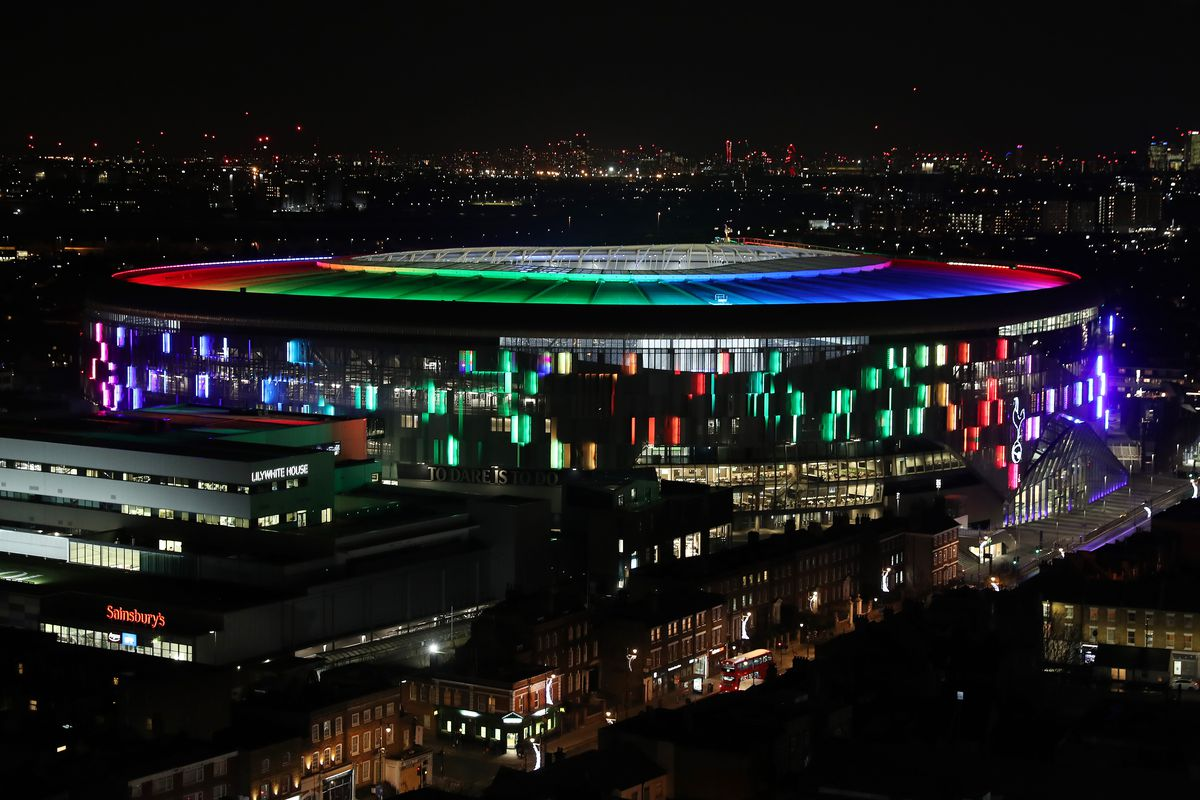 The Tottenham Hotspur Stadium Lights Up to Support the Stonewall Rainbow Laces Campaign