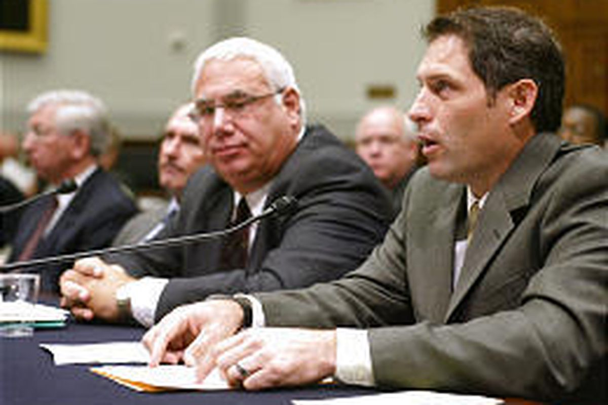 Former BYU and 49er star quarterback Steve Young, right, testifies on Capitol Hill Thursday before the House Judiciary Committee hearing.