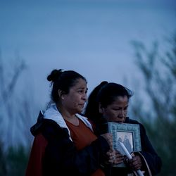 Maria Hernandez, mother of Sophia Hernandez, and her sister-in-law, Cathy Candelario, address those gathered for a vigil for Sophia and her friend Priscilla Bienkowski on the west side of Utah Lake on Saturday, May 9, 2020. Teenagers Sophia Hernandez and Priscilla Bienkowski have been missing since going to the lake on Wednesday.