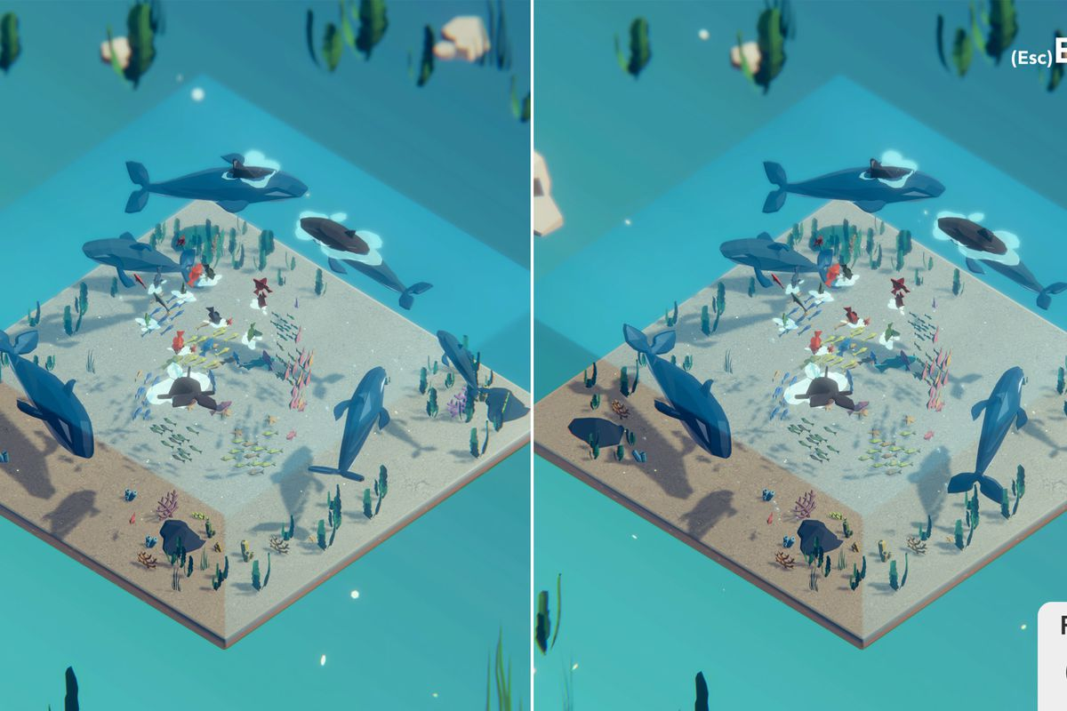 a low-poly diorama of underwater life, including whales, in Tiny Lands