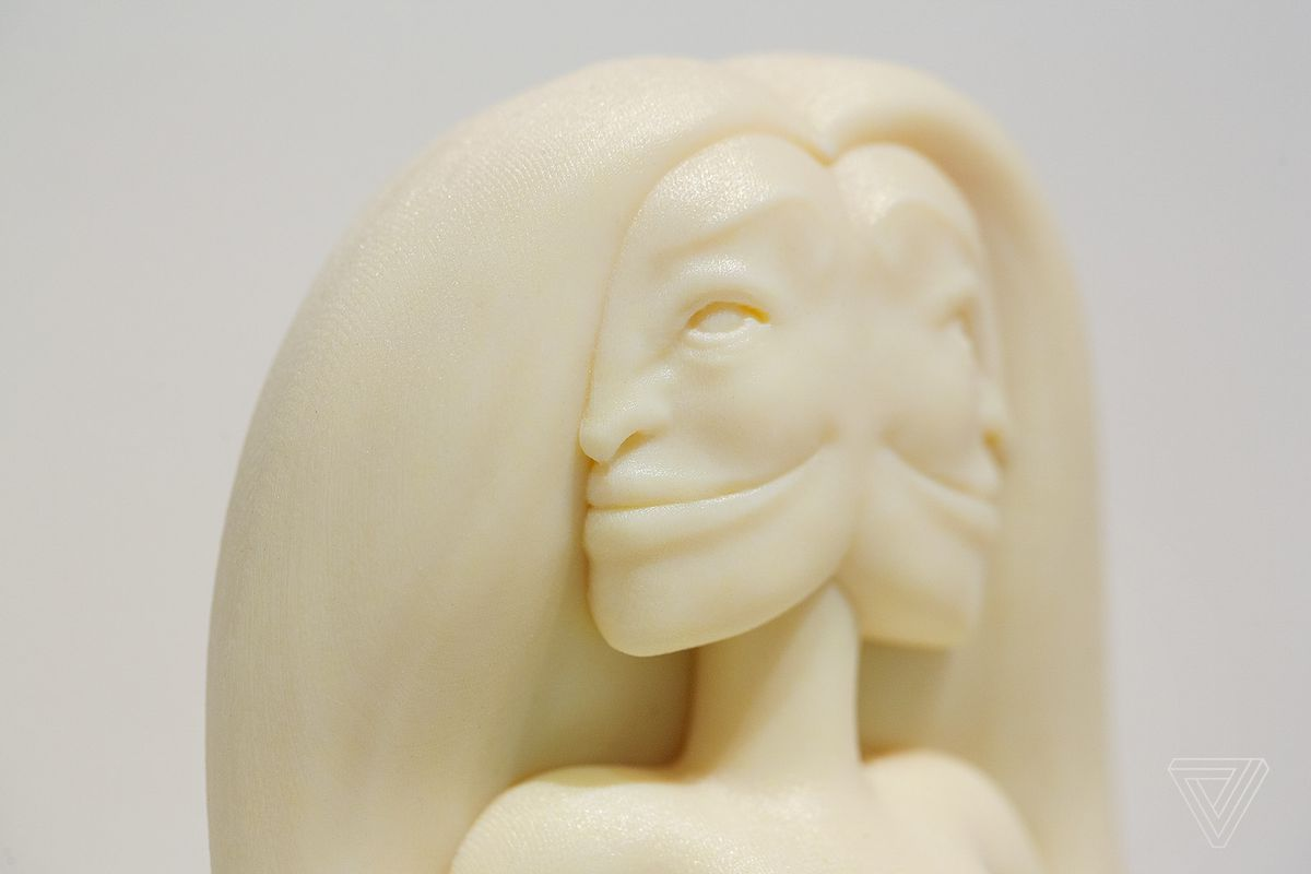 """3D printed in resin, the Aisha Qandisha (2018) sculpture stands at 14.4 inches tall. Aisha Qandisha is """"She is called the opener because she cracks man open for a process of destruction and rebuilding.""""The figure on view as part of Morehshin Allahyari's project, She Who See's The Unknown at the Upfor Gallery booth at the Armory Art Fair in New York City."""