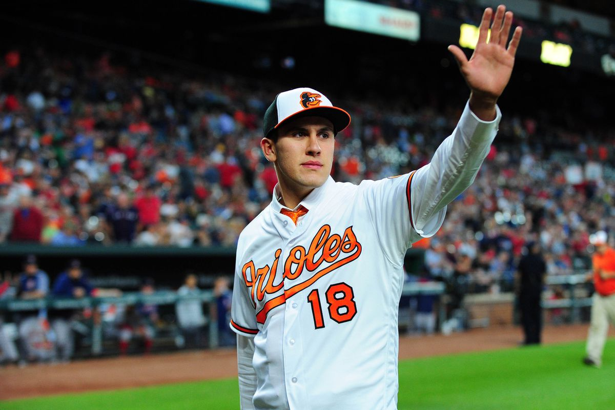 Grayson Rodriguez waves to the Camden Yards crowd