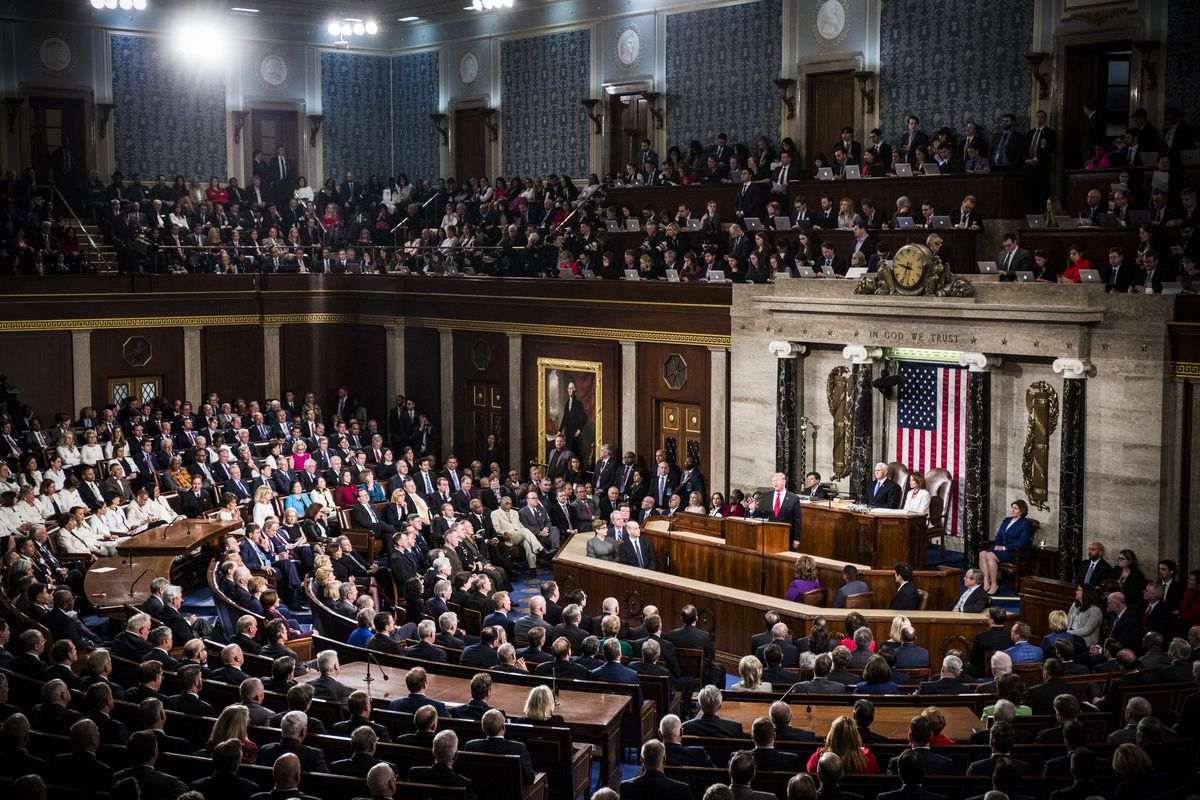 President Trump delivers the State of the Union address in the chamber of the U.S. House of Representatives on February 5, 2019.