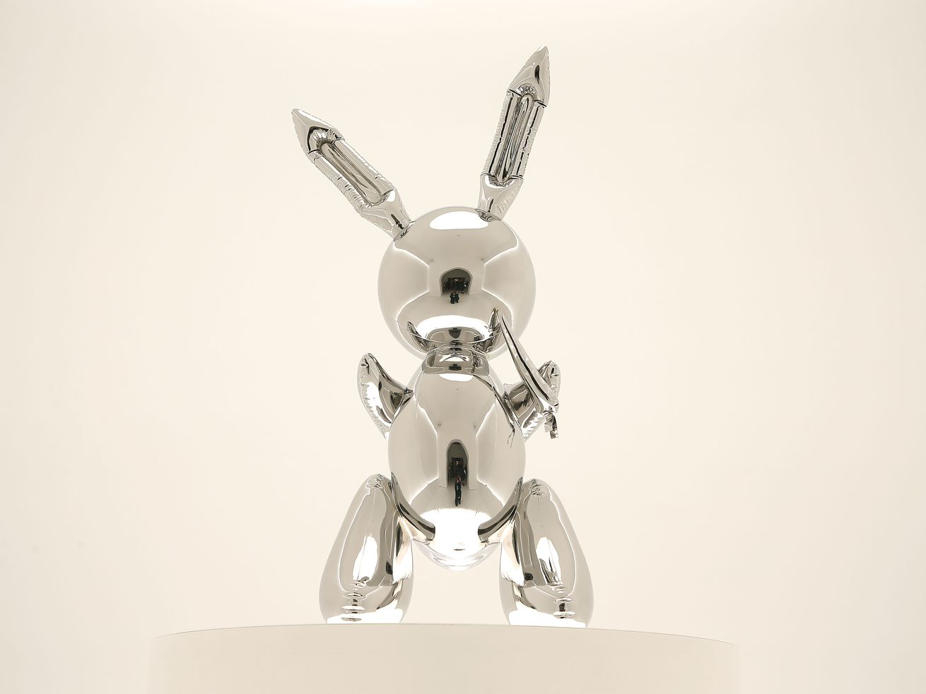 """A sculpture of a"""" Rabbit"""" by Jeff Koons (b.1955) is displayed during the unveiling of highlights from """"20th Century Week"""" at Christie's on May 03, 2019 in New York City. The sculpture sold for $91.1 million."""