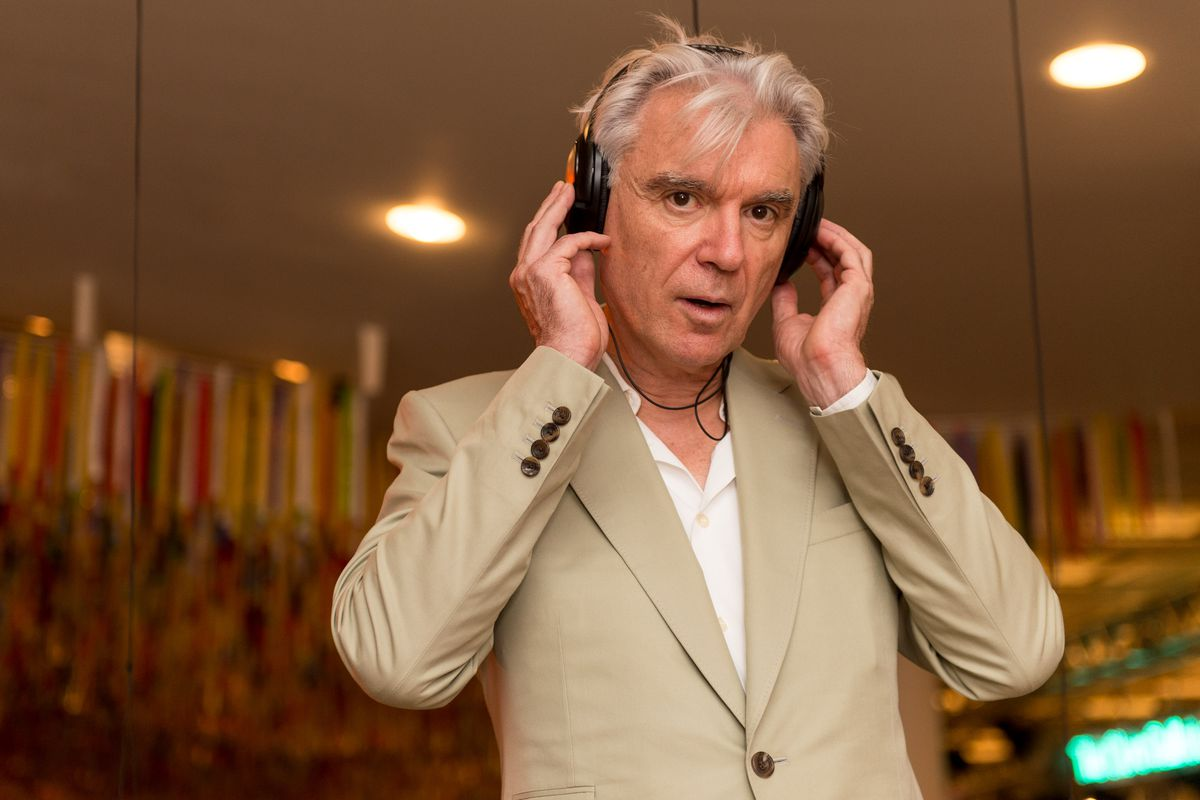 """David Byrne poses in the """"Listening Lounge"""" during the Meltdown Festival launch at Southbank Centre on August 17, 2015, in London, England."""