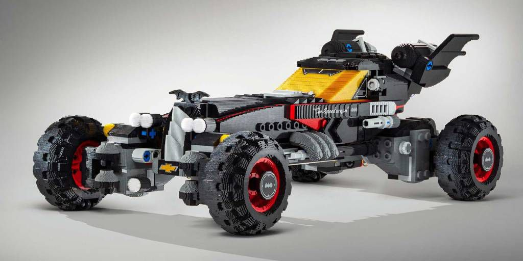 """Constructed from more than 350,000 Lego bricks, this 17-foot long, lifesize Lego Batmobile is inspired by the Speedwagon that will be featured in the upcoming Warner Bros. """"The LEGO Batman Movie."""" The car will be on display at the 2017 Chicago Auto Show."""