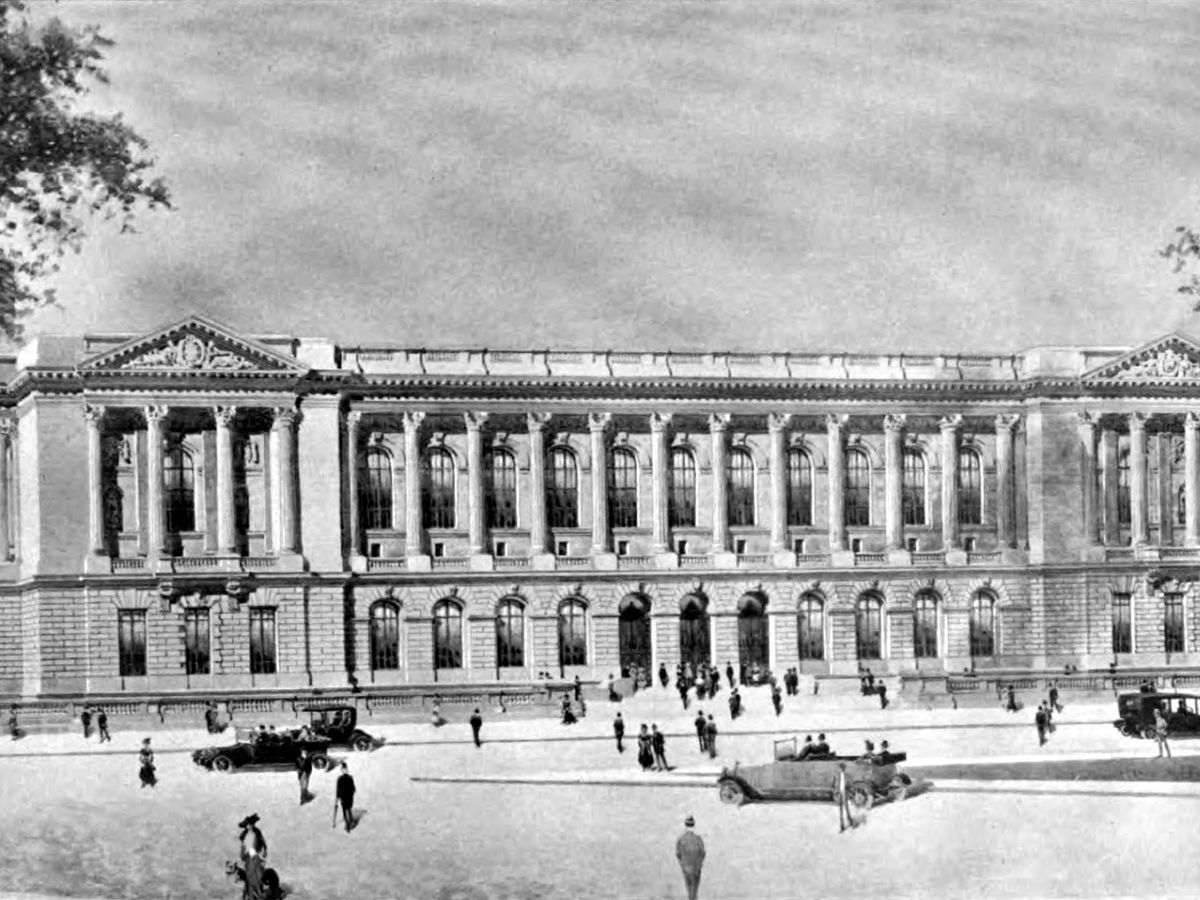 A perspective drawing of the Free Library of Philadelphia by Julian Abele.
