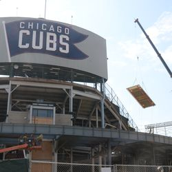 Concrete form being lifted into left field -