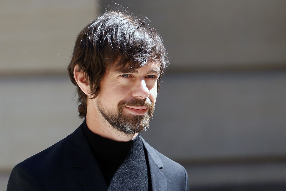 """Jack Dorsey stands in the sunshine at the """"Tech For Good Summit"""" at Hotel De Marigny in Paris."""