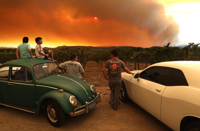 Os residentes locais sentam-se ao lado de um vinhedo enquanto assistem ao incêndio do complexo de relâmpagos LNU nas colinas próximas em 20 de agosto de 2020 em Healdsburg, Califórnia.