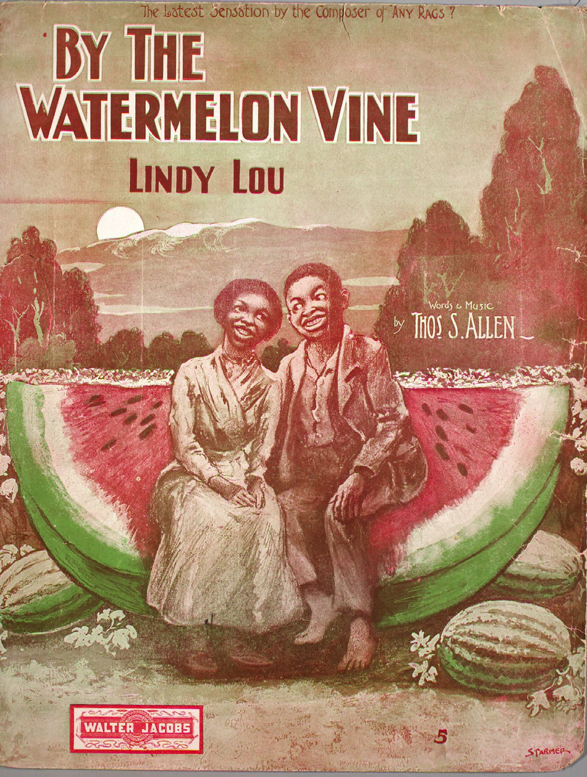 A cover image showing a racist stereotype of two black people smiling in front of a large watermelon.