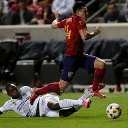 Los Angeles Galaxy defender Sega Coulibaly (4) kicks the ball away from Real Salt Lake forward Rubio Rubin (14) as Real Salt Lake and LA Galaxy play at Rio Tinto Stadium in Sandy on Wednesday, Sept. 29, 2021. RSL won 2-1.