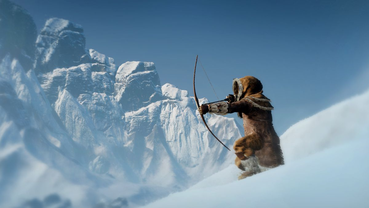 A spaceman wearing furs and carrying a bow and arrow takes aim on the side of a snowy mountain.