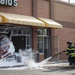 A van crashed into a McDonald's restaurant at 1100 Howard St. in Evanston, Thursday morning, May 16, 2019.