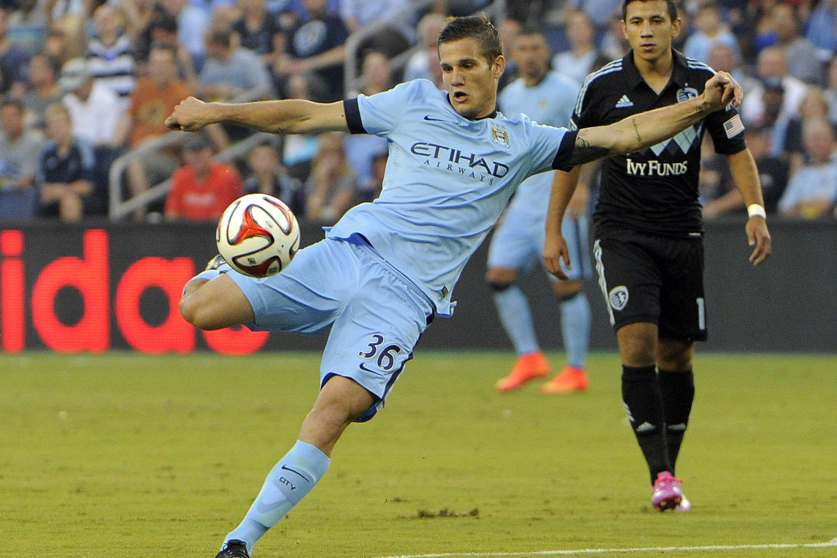 Bruno Zuculini in action for Man City