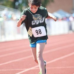 Abigail, of Utah Valley University, runs the 50-meter race at the Special Olympics Utah's 48th annual Summer Games at Provo High School on Friday, June 2, 2017. Nearly 1,300 athletes will compete during the two-day event with support from nearly 500 coaches and hundreds of volunteers.