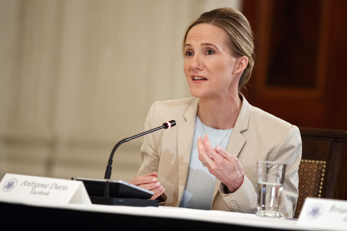 In this March 20, 2018 file photo, Facebook's head of global safety policy Antigone Davis speaks during a roundtable on cyberbullying with first lady Melania Trump, in the State Dining Room of the White House in Washington.