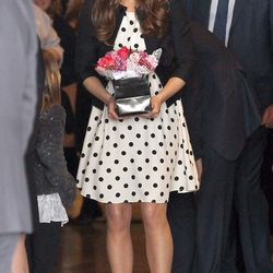 In a Topshop dress and Ralph Lauren blazer for an April 26th, 2013 visit to  Warner Bros. studios in Leavesden, Watford.