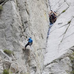 Climbers ascend Satan's Crack in the Dihedrals Area of Little Cottonwood Canyon in Salt Lake City on Thursday, June 1, 2017. The Salt Lake Climbers Alliance, The Church of Jesus Christ of Latter-day Saints and Access Fund announced the signing of an unprecedented lease for 140 acres in Little Cottonwood Canyon . The parcel, known as the Gate Buttress, is about a mile up the canyon and has been popular with generations of climbers because of its world-class granite. The agreement secures legitimate access to approximately 588 routes and 138 boulder problems at the Gate Buttress for rock climbers, who will be active stewards of the property. The recreational lease is the result of several years of negotiations between LDS Church leaders and the local climbing community.