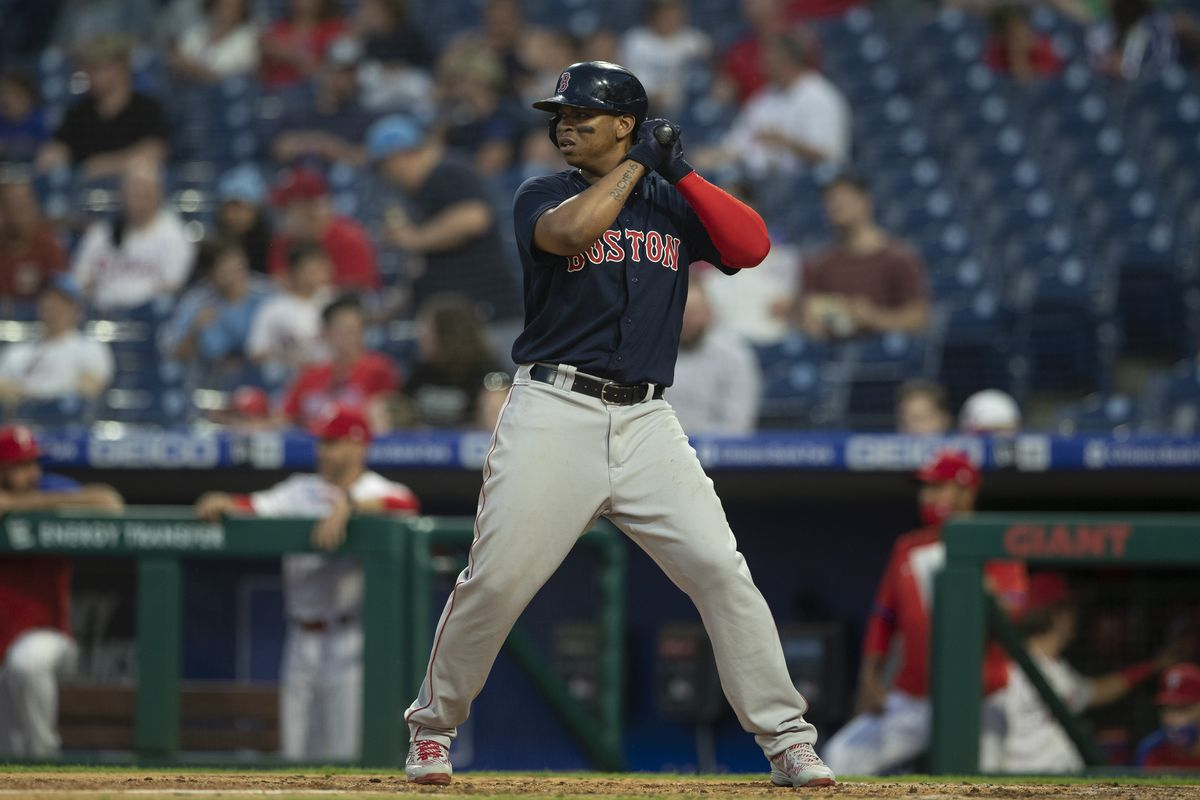 Rafael Devers #11 of the Boston Red Sox bats against the Philadelphia Phillies at Citizens Bank Park on May 21, 2021 in Philadelphia, Pennsylvania.