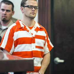 FILE — Logan Welles McFarland enters the courtroom in Manti on Feb. 11, 2015. The Fairview man is charged with two counts of capital murder for the December 2011 killings of Leroy Fullwood, 70, and his wife, Dorothy Ann Fullwood, 69, in their Mt. Pleasant home.