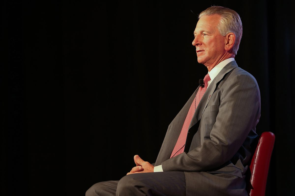 Jul 23, 2012; Dallas, TX, USA; Texas Tech Red Raiders head coach Tommy Tuberville speaks to reporters during Big 12 Media Day at the Westin Galleria.  Mandatory Credit: Kevin Jairaj-US PRESSWIRE