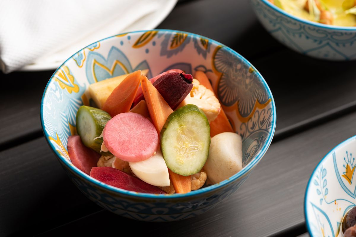Pickled vegetables in a small bowl.