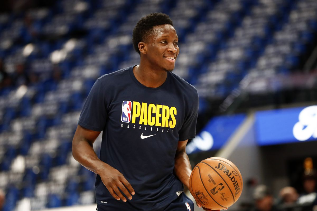 Indiana Pacers guard Victor Oladipo warms up before the game against the Dallas Mavericks at American Airlines Center.