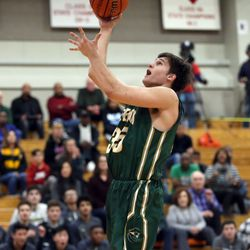 Stevenson's Matthew Kaznikov (35) scores an easy basket against Benet Academy in their 63-59 loss in Lisle, Saturday, February 16, 2019.   Kevin Tanaka/For the Sun Times