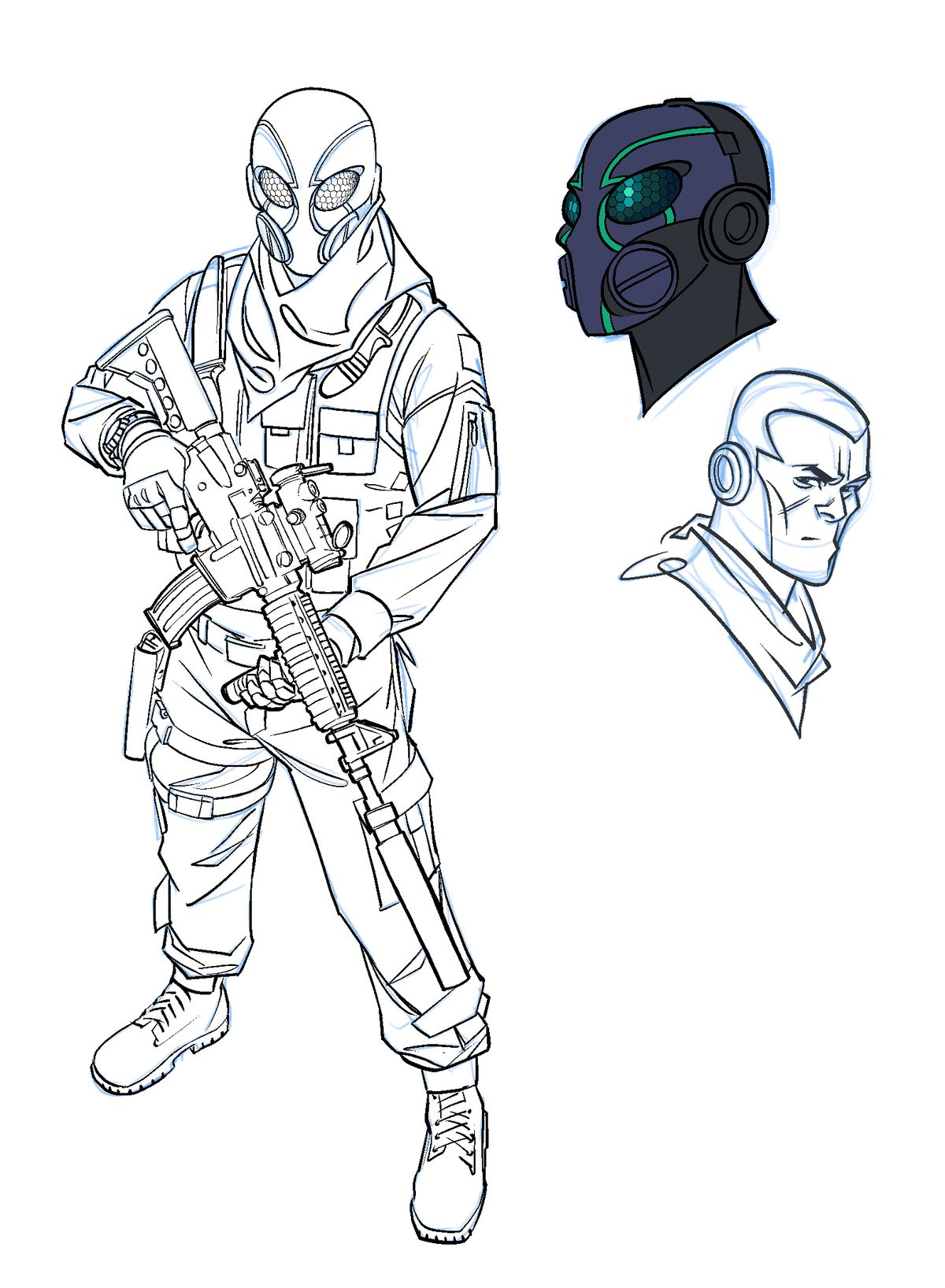 An equipped special operative in a strange full face mask, carrying a sniper rifle, in concept art from Thomas River.