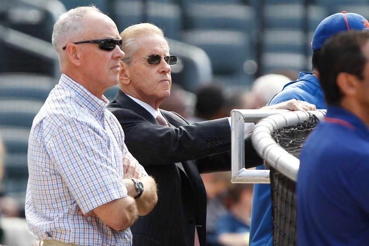June 18, 2012; Flushing, NY, USA; New York Mets general manager Sandy Alderson (left) and owner Fred Wilpon before the game against the Baltimore Orioles at Citi Field. Debby Wong-US PRESSWIRE