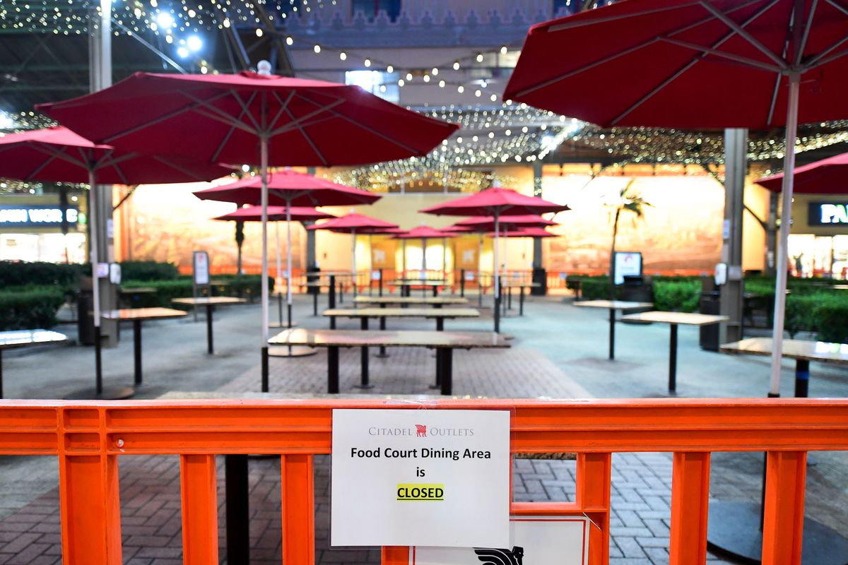 Outdoor dining shut down at Citadel Outlets in Los Angeles.