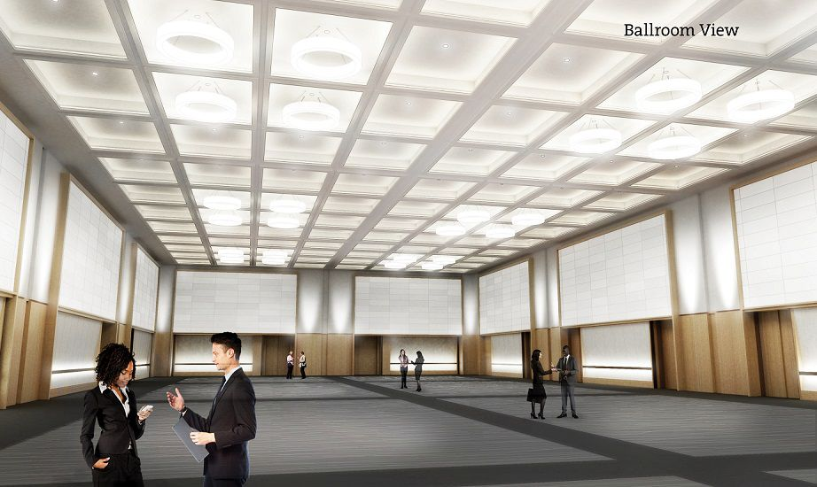 Rendering of a big empty room in a convention center