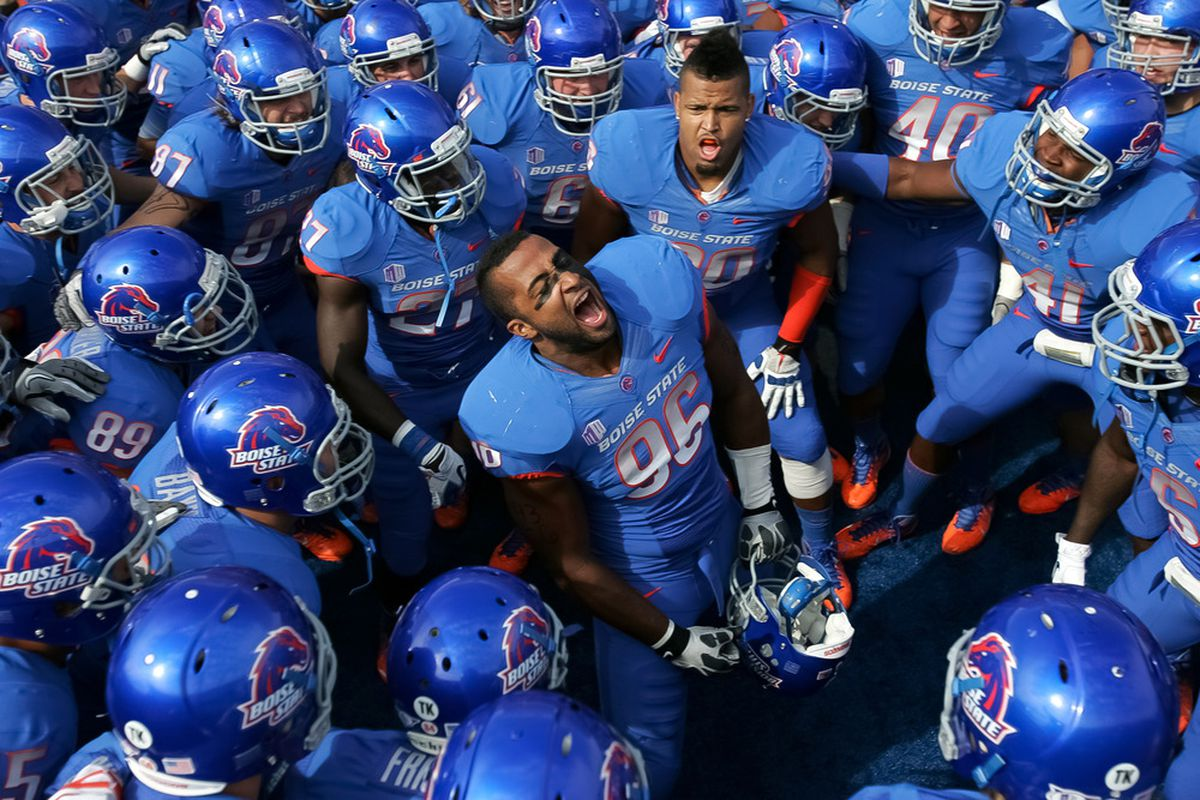 BOISE, ID - OCTOBER 01:  Jarrell Root #96 of the Boise State Broncos psyches up his team before the game against the Nevada Wolf Pack at Bronco Stadium on October 1, 2011 in Boise, Idaho.  (Photo by Otto Kitsinger III/Getty Images)