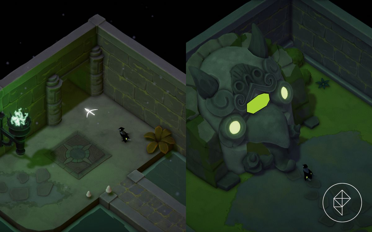A split image showing an opening in a dungeon wall on the left and a vitality shrine on the right.