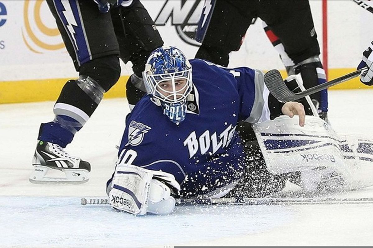 March 10, 2012; Tampa FL, USA; Tampa Bay Lightning goalie Dustin Tokarski (40) defends the goal during the first period against the Carolina Hurricanes at Tampa Bay Times Forum. Mandatory Credit: Kim Klement-US PRESSWIRE