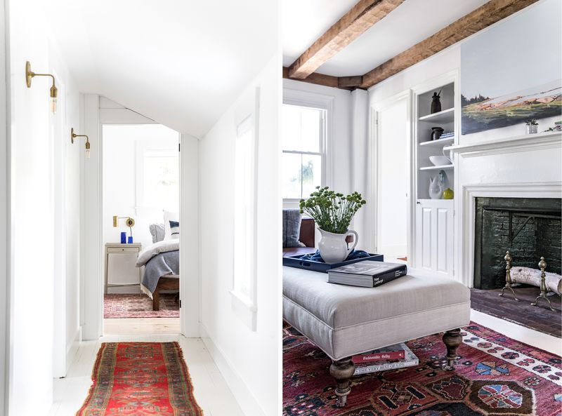a Cape Cod-style remodel in Cumberland Foreside, ME, hallway (left), built-in (right)