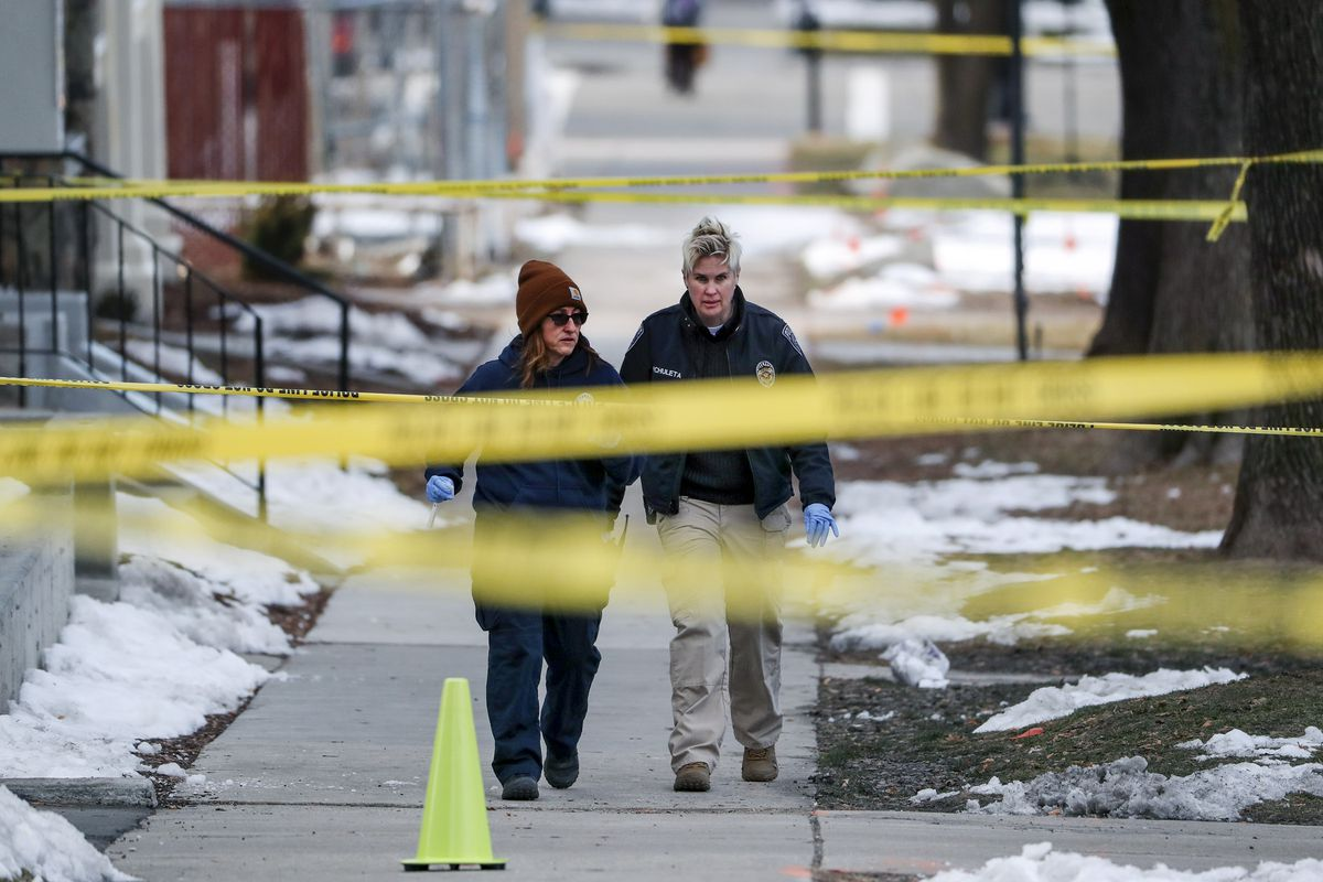Police investigate an officer-involved shooting after responding to a downtown disturbance in Salt Lake City, on Monday, Feb. 10, 2020.